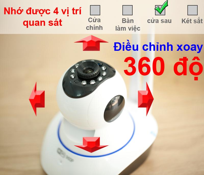 Camera không dây Km-960P xoay được 360 độ