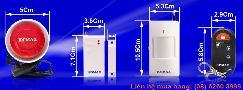 Kích thước các phụ kiện của trung tâm báo trộm KM-T55
