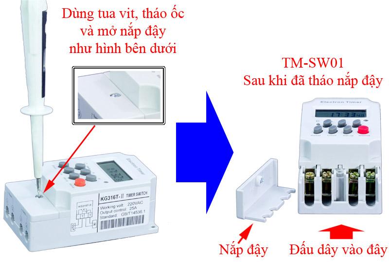 Cách lắp đặt bộ hẹn giờ thiết bị điện KM-SW01
