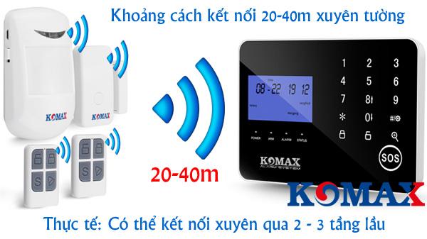 Khoảng cách kết nối của chống trộm KM-900GS và phụ kiện