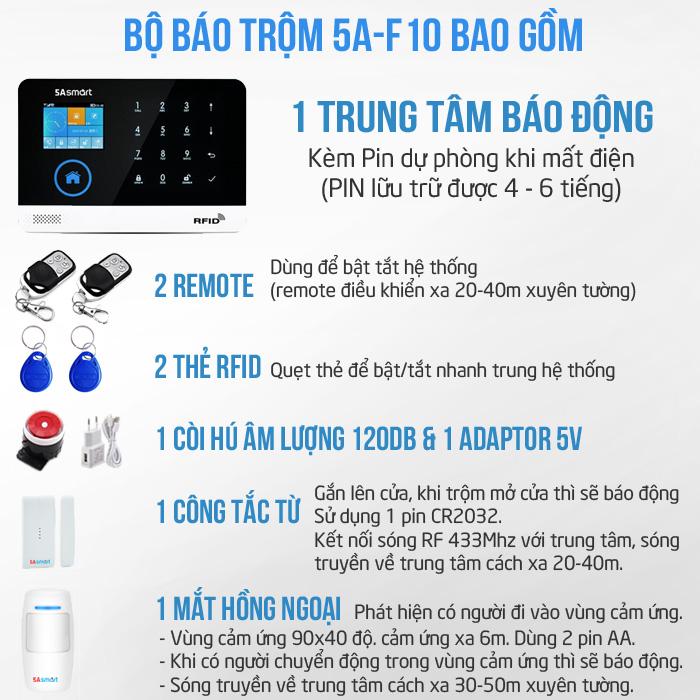 Bộ báo động chống trộm tốt nhất 5A Smart, hỗ trợ kết nối tối đa 100 cảm biến không dây và điều khiển từ xa, cho bạn thoải mái kết hợp với các thiết bị như cảm biến cửa, cảm biến chuyển động, cảm biến khói, cảm biến rung,... giúp bạn kiểm soát mọi thiết bị trong ngôi nhà