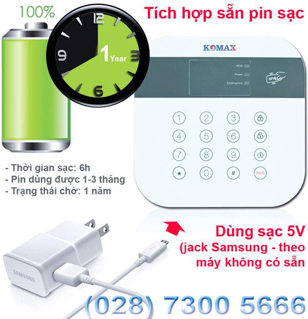 Thời gian sử dụng pin của KM-306A