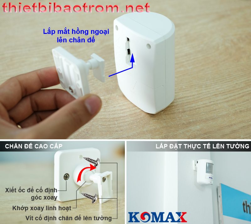 Cách lắp đặt báo trộm hồng ngoại dùng pin KM-X20