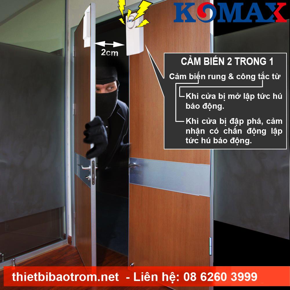 Gắn cảm biến rung chống cạy KM-RC25 để bảo vệ cửa