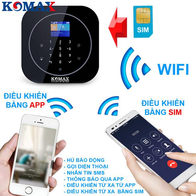 Bộ chống trộm dùng wifi sim KM-g20 có app để điều khiển