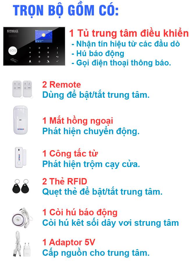 Trọn bộ chống trộm dùng sim wifi KM-G30