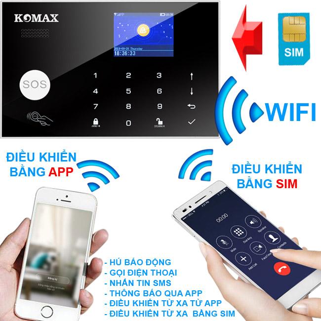 Trung tâm chống trộm KM-G30 sử dụng app để điều khiển