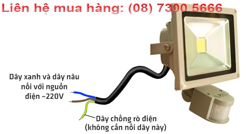 Cách đầu dây đèn pha led cảm ứng 20W