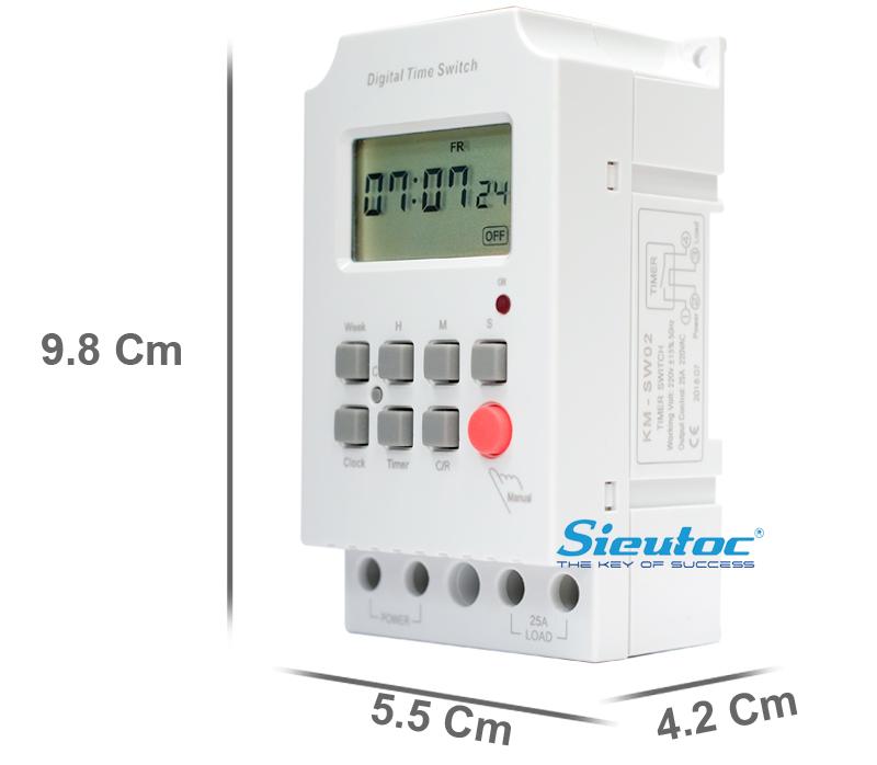 Kích thước của timer công suất lớn KM-SW02